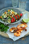 Prawn and vegetable skewers with couscous