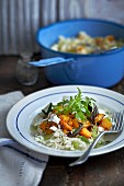 Rice with pumpkin, feta cheese and rocket