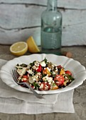 Chicken and vegetable salad with bulgur