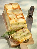 Potato cake with bacon, sliced