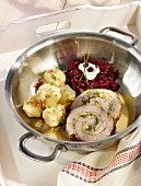 Pork roulade with dumplings and red cabbage