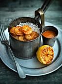 Goan-style prawns with rice