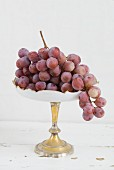 Red grapes on a cake stand