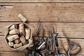 Old corkscrews and corks