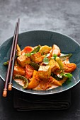Colourful vegetable curry with fried tofu