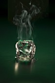 A steaming ice cube
