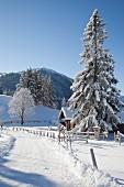 Verschneite Straße mit Hütte und Berglandschaft unter blauem Himmel