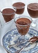 Mousse au chocolat in glasses