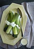 Steamed leek with garlic mayonnaise