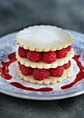 A raspberry mille feuille