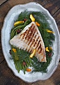 Grilled turbot on fennel leaves