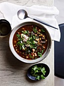 Chickpea soup with sumac and yogurt