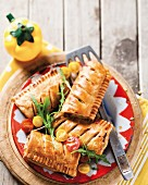 Pork and apple pasties with bay leaves