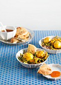 Bean curry with egg and sesame seeds