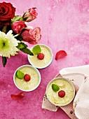 Coconut cream with raspberries
