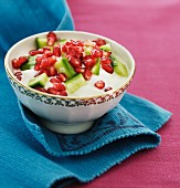 Yoghurt dip with cucumber and pomegranate seeds (India)
