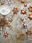 Star shaped pernik (Czech gingerbread biscuits) decorated with sugar stars