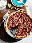 Pecan pie, sliced