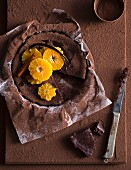 Chocolate mousse cake with oranges (seen from above)