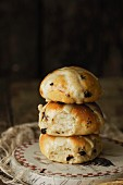 A stack of hot cross buns