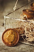 Easter pies in a wire basket