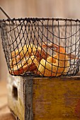 Fried shrimps in a wire basket