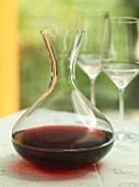 A carafe of red wine