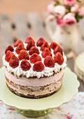 Strawberry cream cake on cake stand