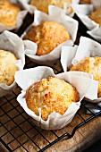 Lemon muffins on a cooling rack