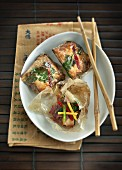 Duck with vegetables in parchment paper (China)