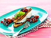 French toast with ice cream and a berry salad