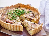 Mushroom tart garnished with cress