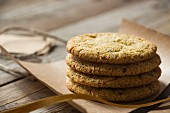 A stack of wholemeal biscuits