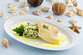Sea bream with rocket risotto and saffron sauce
