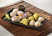 Steamed dumplings with soy sauce
