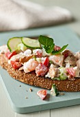 Quick prawn and mackerel toasts