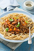 Spaghetti with vegetable bolognese