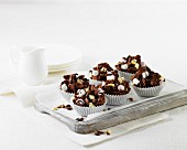 Chocolate crispy cakes with mini marshmallows