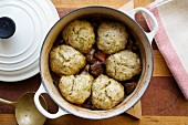 Beef and mushroom stew with ale and herb dumplings