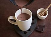 Homemade hot chocolate with honey