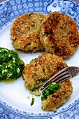Potato and black salsify cakes with stinging nettle pesto