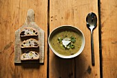Asparagus soup with spring onions and Parmesan cheese