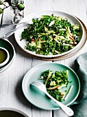 Winter salad of broccoli, apple and kale with sesame dressing