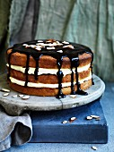 Orange custard creamy layer cake