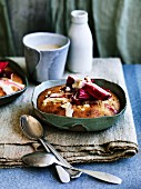 Rhubarb-hazelnut puddings with brown sugar brandy custard