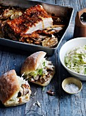 Roast Pork rolls with apple slaw