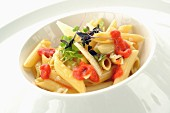 Penne pasta with sea urchins and vegetables