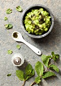 Mushy peas and mint sauce