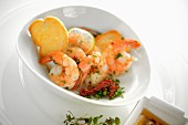 Garlic prawns with olive oil and chilli
