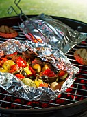 Grilled Mediterranean vegetables in aluminium foil